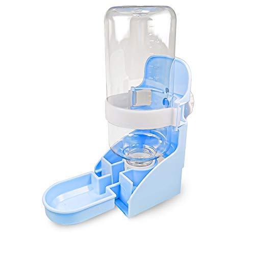 MEEQIAO Haustier Automatischer Wasserspender, 500ml Aufhängbar, Tränke für Welpen/Meerschweinchen/Katzen/Hamster/Kaninchen (Blau)
