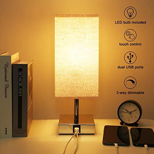 Kakanuo Lampe de chevet Tactile, Lampe de Table Dimmable,avec LED E27 5W et 2 Ports de Charge USB Utiles, Lampe de Chevet Moderne pour Bureau, Salon, Chambre, etc (Ampoule Incluant)