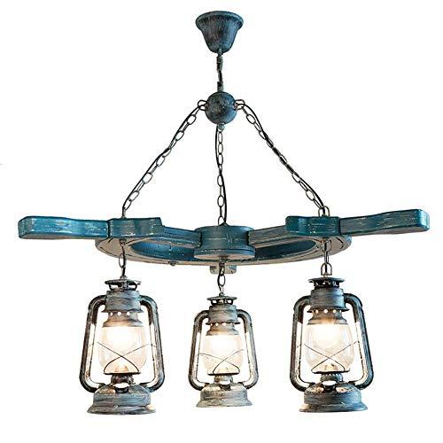 Casual Estilo mediterráneo de Madera sólida de la lámpara Creativa Hecha a Mano Linterna Antigua lámpara de keroseno café del Restaurante de la lámpara del Hierro labrado HAODAMAI