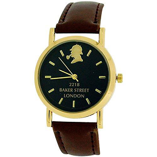 The Sherlock Holmes Baker Street Gents Black Dial Brown PU Strap Watch BAK01C