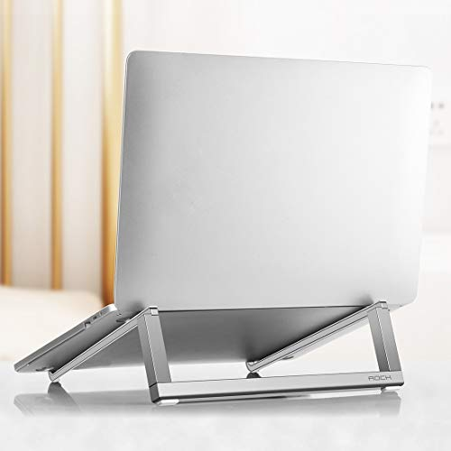 Adjustable Laptop Stand,Notebook Stand,Foldable Laptop Stand,Mini Ultrathin Portable Foldable Design Laptop Bracket Stand Mi,luckyqq (Color : Silver)