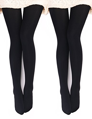 VERO MONTE 2 Pairs Womens Opaque Warm Fleece Lined Tights (BLACK) 46031