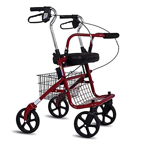 Walker,Gehhilfen mit klappbaren Sitzen und Rädern,Tragbarer Walker Walker Senior Trolley Lebensmittelgeschäft Einkaufswagen Senioren Einkaufswagen Walker