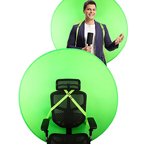 Green Screen for Chair 142cm 56'' Green Screen Chair Attachment Background Retractable Chromakey Backdrop Panel for Streaming Gaming Zoom