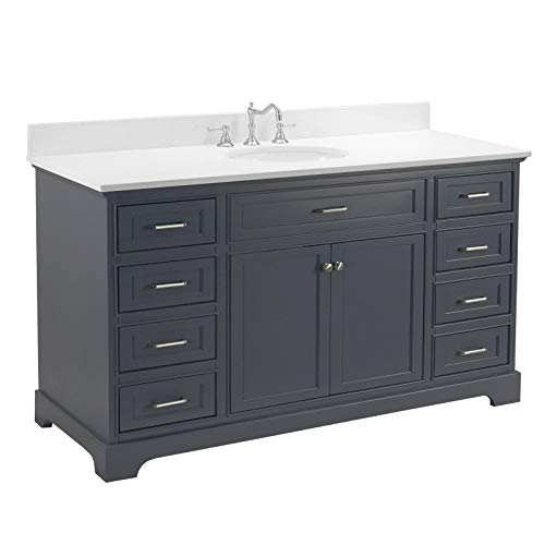 Aria 60-inch Single Bathroom Vanity (Quartz/Charcoal Gray): Includes Charcoal Gray Cabinet with Stunning Quartz Countertop and White Ceramic Sink