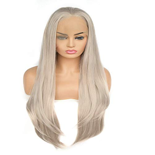 Postizos naturales Fashian Bright Grey Ladies recta peluca de calor del cordón del frente del pelo recto natural Onda Larga Cola de caballo para las mujeres (Color : Bright gray)
