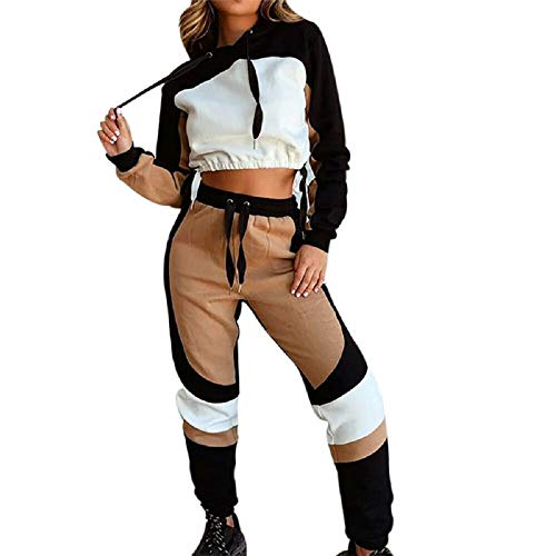 Snsunny - Conjunto de ropa deportiva para mujer, 2 piezas, traje de deporte, chándal, chándal, para mujer, sudadera con capucha, manga larga, cremallera, pantalón largo, ropa de deporte Color2 M