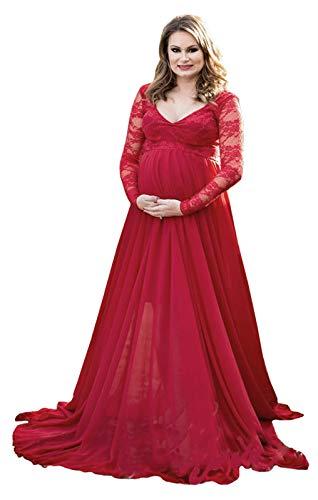 FEOYA Umstandskleid Lang Schwangerschaftskleid V-Ausschnitt Maxi Kleid Chiffonkleid Schwangere Hochzeitskleid Abendkleid Rot - Größe M