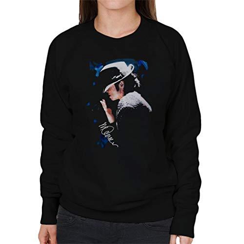 VINTRO Michael Jackson Gespitzte Hat Frauen-Sweatshirt Ursprüngliche Porträt von Sidney Maurer (Jet Black Arctic White,XXL)
