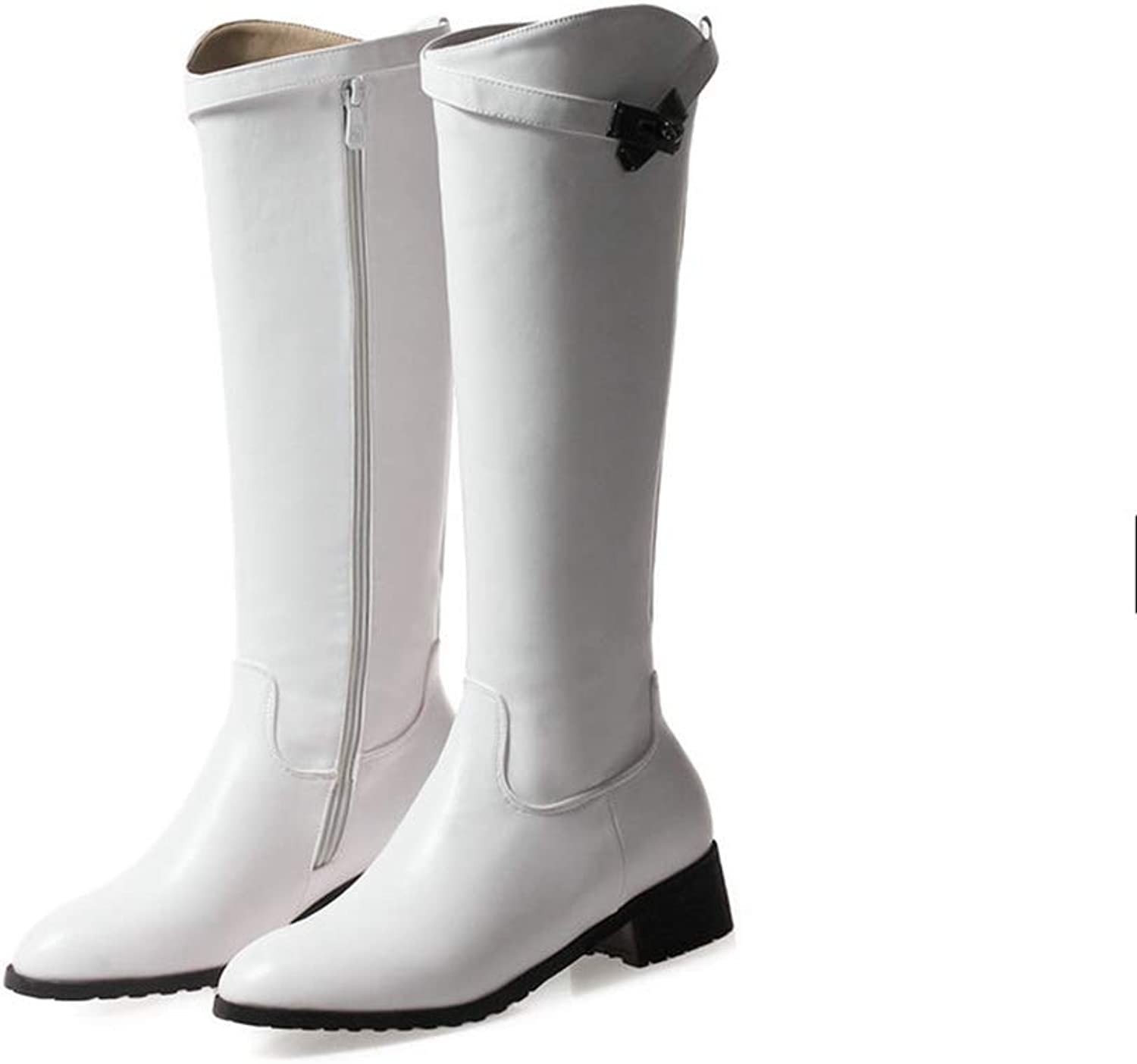 Women Fashion Mid Calf Boots Round Toe Slip-On Square Med Heel Half Boats with Fur Lining