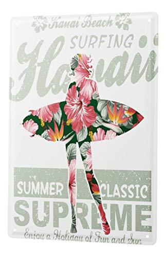 Blechschild Vintage Retro Metallschild Wandschild Blech Poster Abenteurer Hawaii Surf