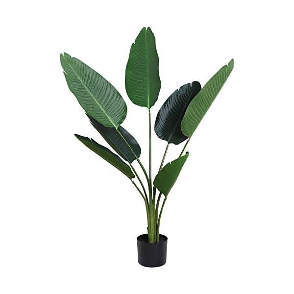 Outsunny Planta de Decoración Artificial de Palma Árbol Realista con Maceta 10 Hojas Ф18x180cm para Exterior e Interior…
