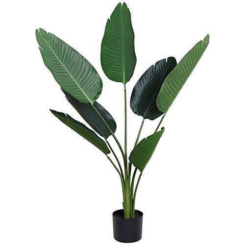 Outsunny Planta de Decoración Artificial de Palma Árbol Realista con Maceta 7 Hojas Ф15x120cm para Exterior e Interior No Requiere Instalación