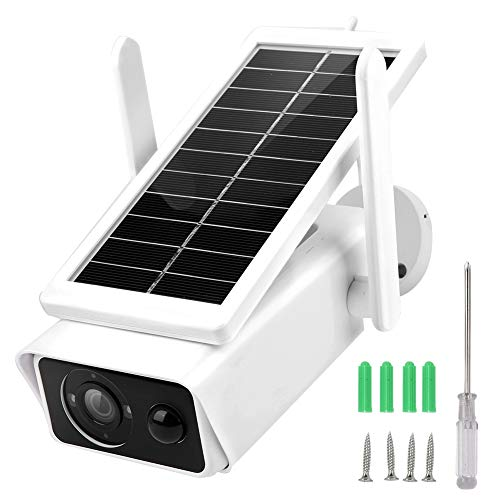 Cámara CCTV, cámara de seguridad 1080P Videocámara WiFi solar de baja potencia IP66 Monitor de video nocturno impermeable con vista nocturna infrarroja de 10-20 metros para protección del hogar