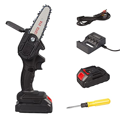 Mini Chainsaw 4 Inch Handheld Electric Power Chain Saw, One-Hand Operated Portable Wood Saw for Wood Cutting Garden Pruning, Bonsai Trunk, and Firewood