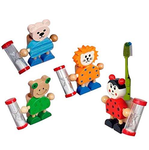 Portacepillos de Dientes Infantil en Madera, animalitos con Reloj de Arena. Lote 8 Unidades.Regalos para cumpleaños