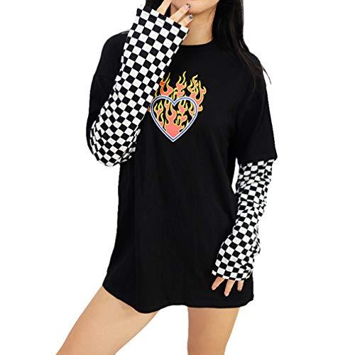 Frauen Schwarz und Weiß Kariertes Schachbrettmuster Langarm Flaming Heart Print T-Shirt Pullover Rundhals Bluse T-Shirt Tops