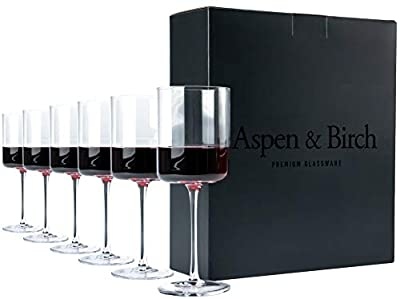 Aspen & Birch - Modern Wine Glasses Set of 6 - Red Wine Glasses or White Wine Glasses, 100% Lead Free Crystal Stemware, Long Stem Wine Glasses Set, Clear, 15 oz, Hand Blown Glass Crafted by Artisans