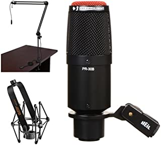 Heil Sound PR 30B Dynamic Cardioid Studio Microphone (Matte Black) with Two-Section Broadcast Arm and Microphone Suspension Shockmount