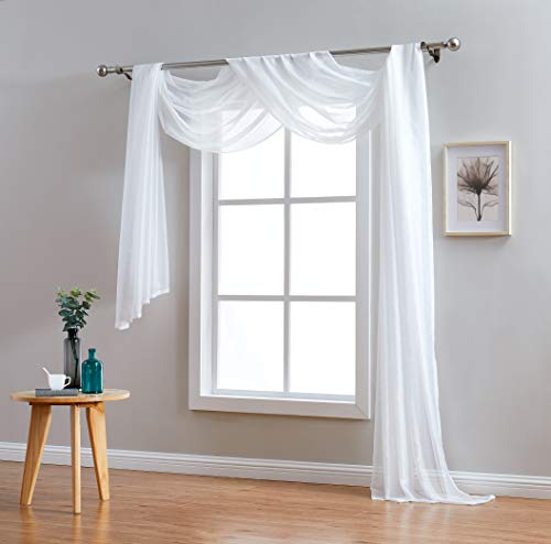 Red Co. Semi Sheer Ivory Window Scarf, 54 by 216 Inches Long, Decorative Curtain Accent Window Valance