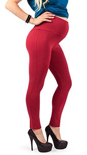 Leggings Premaman, Morbido Cotone elasticizzato e coprente, ottima vestibilità - Made in Italy (Cherry 40 IT)