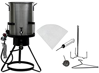 Outdoor Heavy Duty 50,000 BTU Propane 30 Quart Deep Turkey Fryer with Pot Plus Injector and Oil Filter