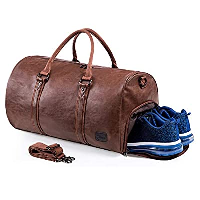Leather Travel Bag with Shoe Pouch? Waterproof Weekender Overnight Bag, Large Carry On Duffel Bag for Men Women-Brown