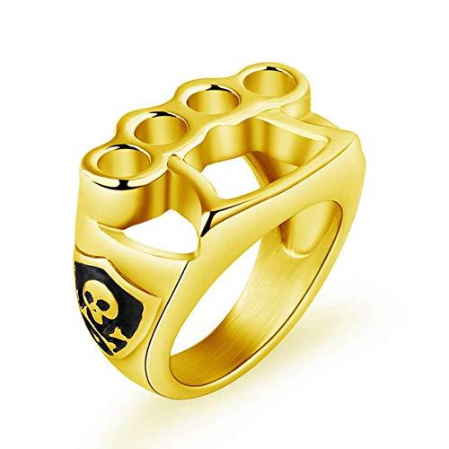 Anillo de boxeo para hombre, titanio, acero inoxidable, dedo, anillo de fitness, joyería con personalidad, anillos de calavera de color plateado para hombres, mujeres, regalo, 10 oro