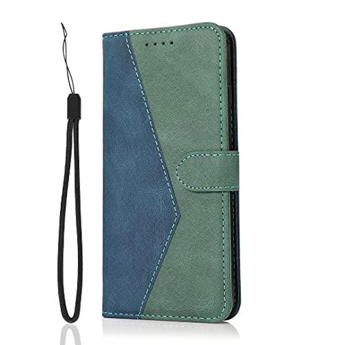 Funda para Samsung Galaxy S21 Plus, funda de teléfono para Samsung Galaxy S21 Plus, a prueba de golpes, piel sintética, estilo libro con tapa magnética, función atril, tarjetero, color azul y verde