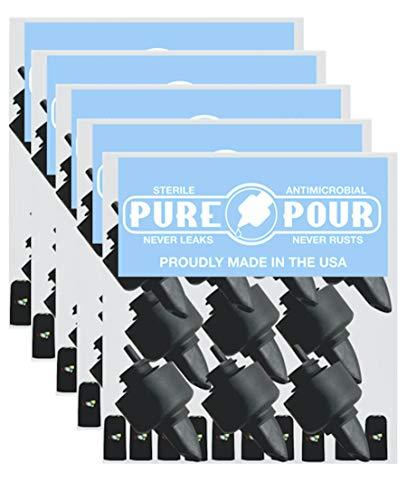 Ausgießer und Universal-Ausgießer mit Gummi-Staubkappen für Alkoholflaschen, Olivenöl, Sirup, Balsamico Essig und mehr (50 Stück)