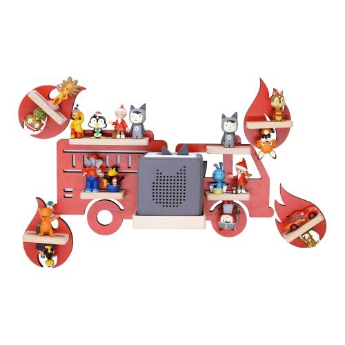BOARTI das Original Kinder Regal Feuerwehr Kollektion 5-teilig rot mit Feuerwehrauto & 4 Flammen geeignet für die Toniebox & ca. 40 Tonies - zum Spielen & Sammeln