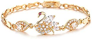 OPK Fashion Sweet Swan Pattern Bracelet With Crystals Copper Plating 18k Gold Women Bracelet