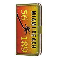 スマホケース 手帳型 カードタイプ HUAWEI P10 Plus (VKY-L29) 用 ナンバー・マイアミ MIAMI ビンテージ USA 車 カーナンバー ファーウェイ ピーテンプラス ワイモバイル SIMフリー スマホカバー 携帯ケース スタンド license 00h_171@03c