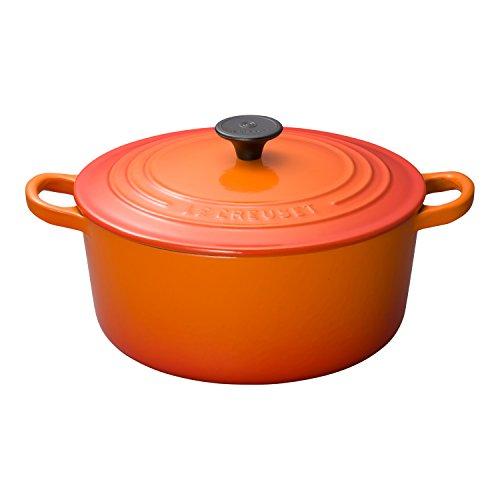 ルクルーゼ ココット ロンド ホーロー 鍋 IH 対応 22cm オレンジ 2501-22-09