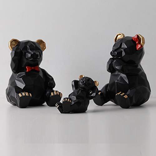 Escultura de estatua de oso geométrico tridimensional nórdico, una familia de tres osos de origami, decoraciones creativas, decoraciones suaves en la sala de estar, como se muestra en la Figura 3