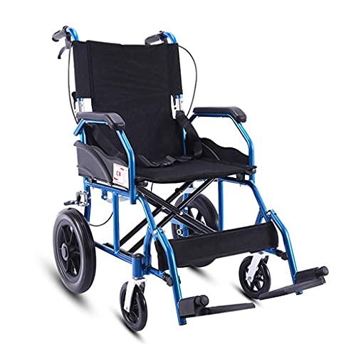 FACAZ Silla de Ruedas Manual ergonómica Ultraligera, Negra y Azul, Ancho del Asiento de 16 Pulgadas