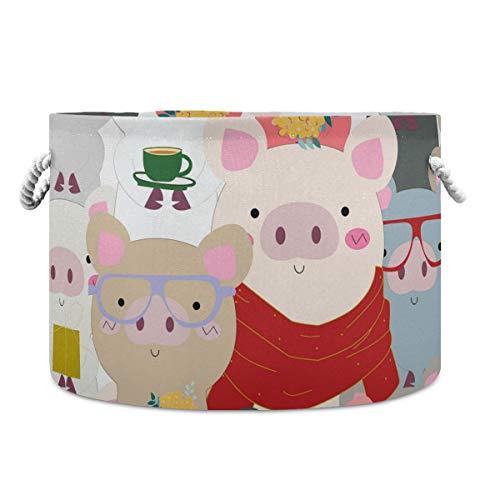 AJINGA Cesta de almacenamiento redonda plegable de tela para juguetes, cesta de lavandería con cordones para niños