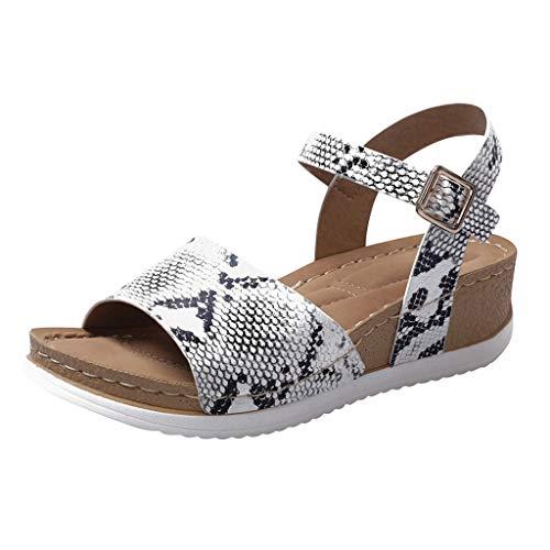 AIni Sandalias Romanas de Verano para Mujer,Zapatos Antideslizantes de Suela Blanda Zapatos Retro de Planos Sandalias Romanas Zapatos de CuñA Zapatillas Con Hebilla Caqui MarróN Negro Blanco 3