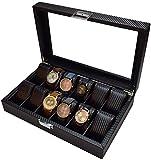 YAYY Caja de Reloj de 12 Ranuras de Fibra de Carbono Caja Superior de Cristal Organizador de Almacenamiento de Joyas Caja de exhibición de Almacenamiento de Joyas seccionadas de Madera(Upgrade)