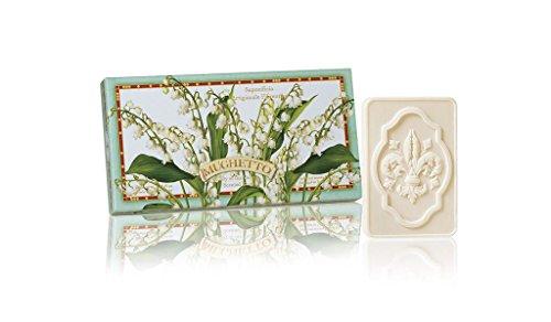 Maiglöckchenseife, rechteckig 3 St je 125g, handgemachte italienische Seife aus Fiorentino, mit dekorativer Prägung