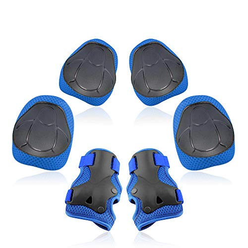 Yoreeto Knee Pads for Kids Youth 6 in 1 Kids Protective Gear Set Toddler Knee and Elbow Pads with Wrist Guards for Skating Bike Scooter Skateboard Rollerblading…