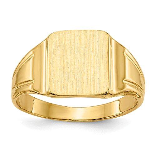 Diamond2deal Solido 14K giallo oro sigillo da uomo con anello 5