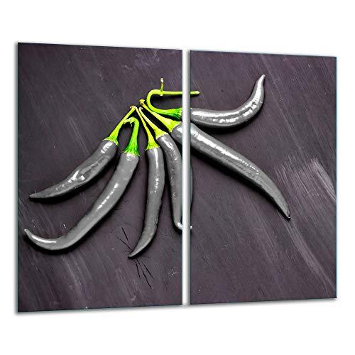 TMK | 2 placas protectoras de cocina de 2 piezas de 2 x 30 x 52 cm para cubrir la vitrocerámica de cocina eléctrica de inducción, protección contra salpicaduras, tabla de cortar | Decoración Chilli