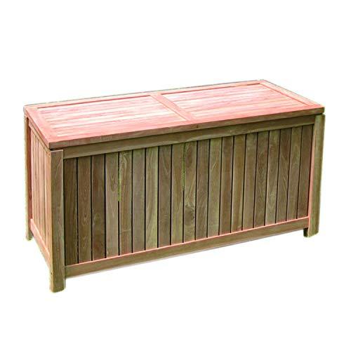 FineHome Teak Kissenbox Auflagenbox Teakbox Gartenbox offene Lattung 122 x 55 x 65 cm