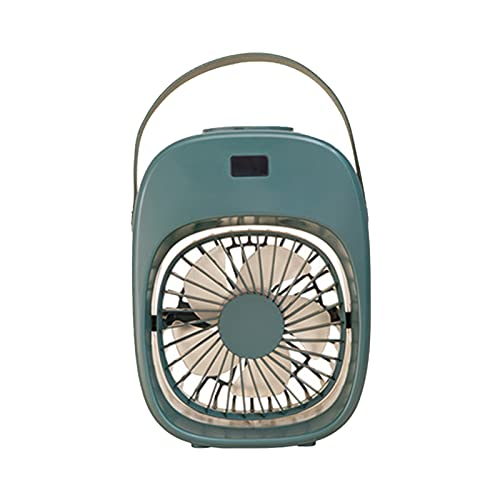 QJN Aire acondicionado portátil, ventilador de aire acondicionado evaporativo, humidificador luz nocturna batería recargable casa/oficina/exterior blanco verde