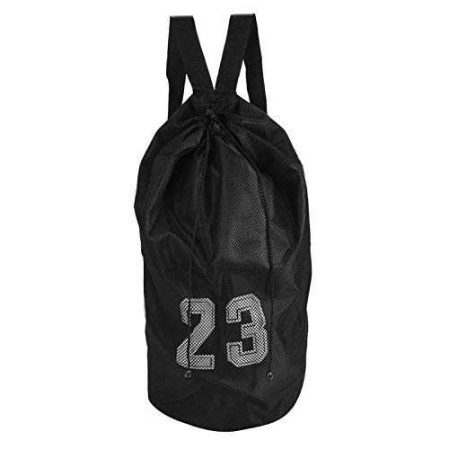 CHICIRIS Mochila con cordón para bolas, con cordón, color azul/negro para entrenamiento de fútbol para viajes de fútbol para voleibol para deportes de baloncesto (negro)