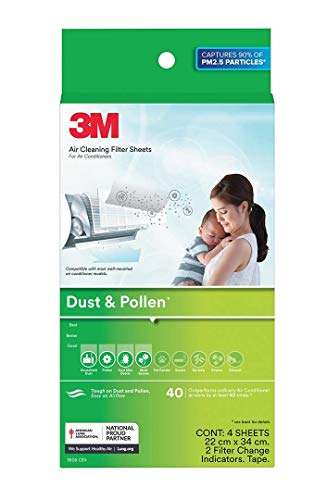 3M AC Filters for converting Split AC into air Purifier [Dust & Pollen, 4 Sheets, 2 Change Indicators]