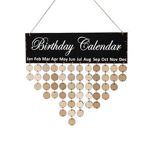 Janly Clearance Sale Placa de cumpleaños familiar para colgar en madera con recordatorio de cumpleaños, calendario F, decoración del hogar para el día de Pascua (F)