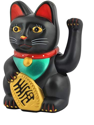 ISO TRADE Gato Chino de la Suerte Dorado Maneki-Neko - símbolo de Buena Fortuna #3064, Farbe/Color:Schwarz/Black