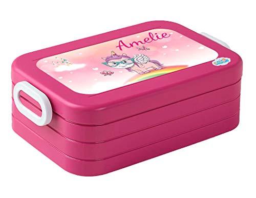 Mein Zwergenland Lunchbox Mepal Maxi Take A Break midi Brotdose mit eigenem Namen Pink, Einhorn